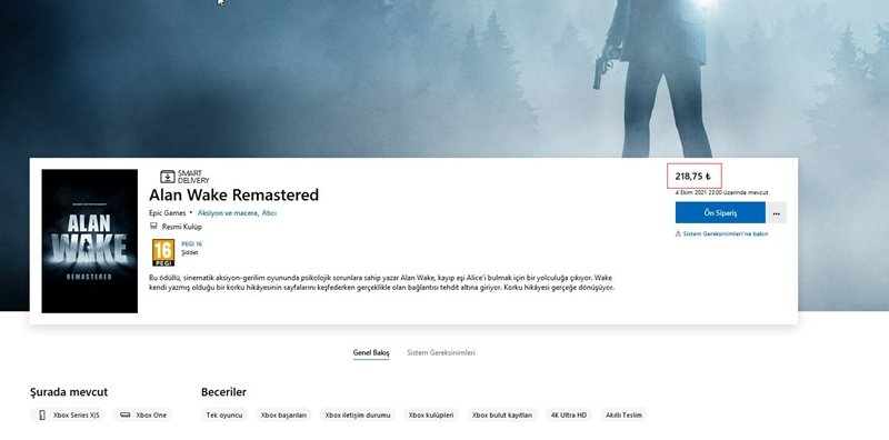 Alan Wake Remastered fiyatı