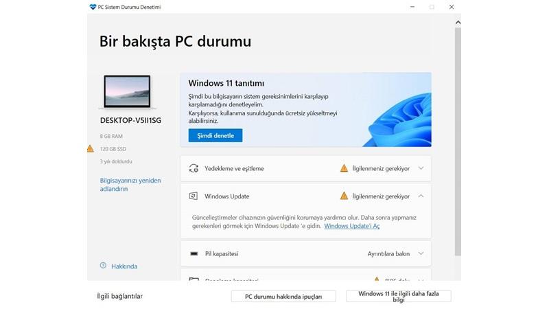 PC sistem durumu denetimi windows 11